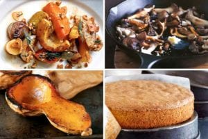 Images of four gluten-free thanksgiving recipes -- roasted root vegetables, pan roasted mushrooms, butternut squash, and spiced nut cake.
