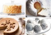 Images of four holiday dessert recipes -- coconut carrot cake, angel food cake, gingerbread cheesecake, and rum balls.