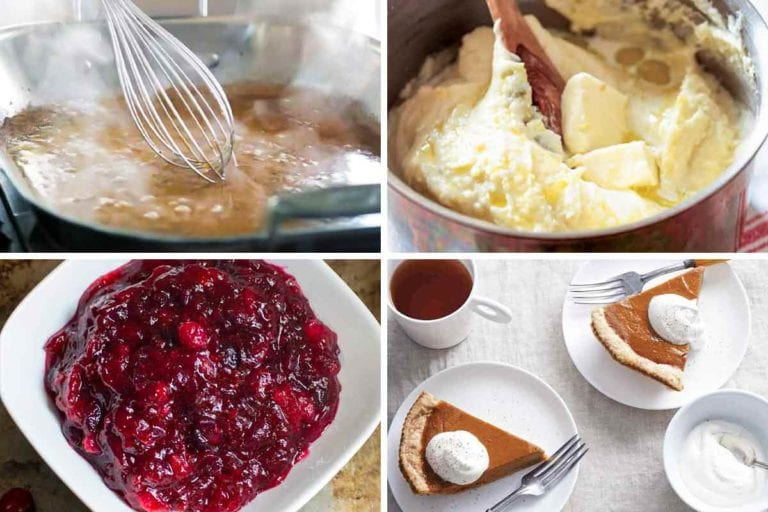 Images of four old-fashioned Thanksgiving recipes -- gravy, velvet mashed potatoes, cranberry and orange relish, and pumpkin pie.