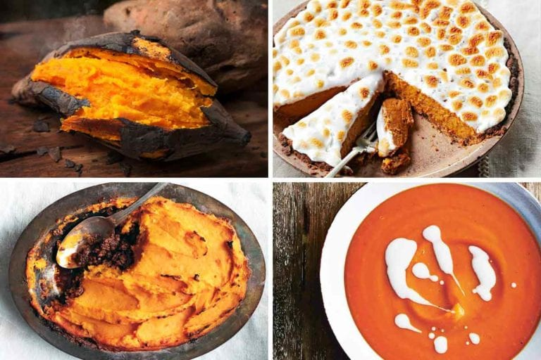Images of four sweet potato recipes -- roasted sweet potatoes, sweet potato pie, sweet potato cottage pie, and sweet potato soup with coconut milk.