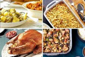 Images of four stuffing recipes -- cornbread stuffing, bread stuffing, a stuffed turkey, and wild mushroom stuffing.