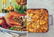 Images of a stuffed turkey and a tray of dressing in answer to explain what the difference is between stuffing and dressing.