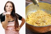 Images of Nadia Caterina Munno, the Pasta Queen, and a bowl of pasta for the podcast Talking With My Mouth Full, Ep. 35: Talking With TikTok's Pasta Queen.