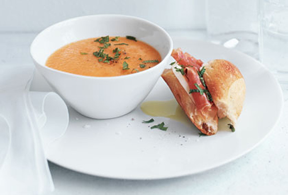 Cantaloupe Soup and Prosciutto Sandwiches