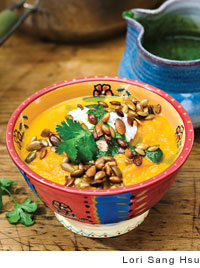 Carrot and Ginger Soup with Fromage Blanc and Cilantro Pesto