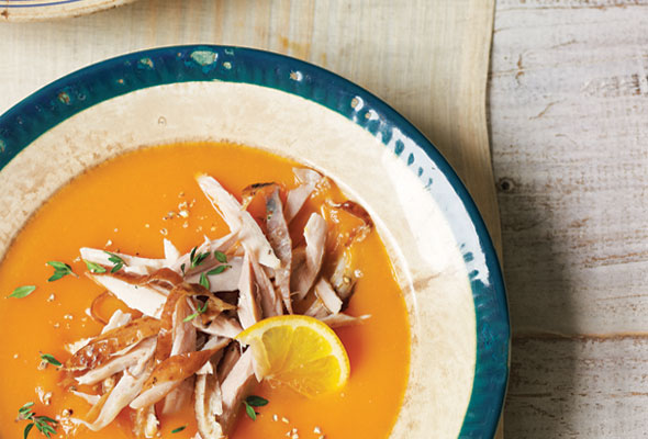 Carrot Soup with Chicken and Thyme