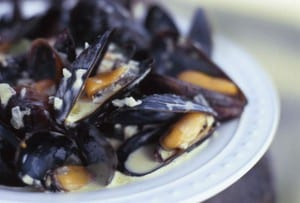 Curried Steamed Mussels