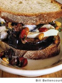 Eggplant Sandwich with Mozzarella, White Anchovies, Raisin-Pine Nut Relish
