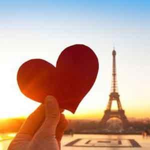 Heart cutout against Eiffel Tower