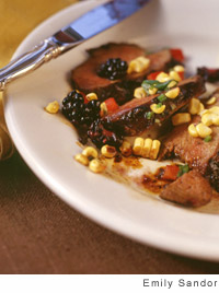 Sagebrush Grilled Duck Breasts with a Corn-Blackberry Salsa
