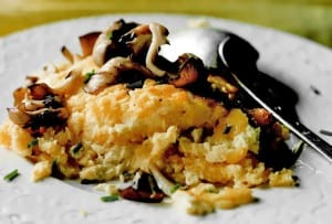 Hen of the Woods with Corn Pudding