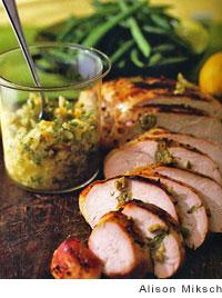 Lemon Turkey Breast Larded with Green Olive Tapenade