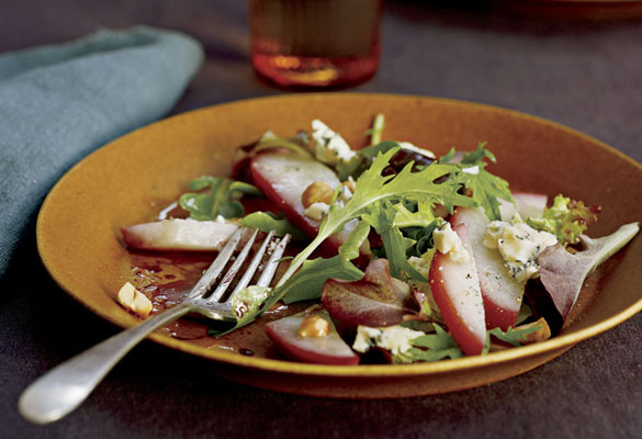 Poached Pear, Rogue River Blue Cheese, and Hazelnut Salad