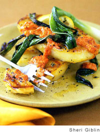 Grilled Marinated Potato Slices, Green Onions, and Romesco Sauce