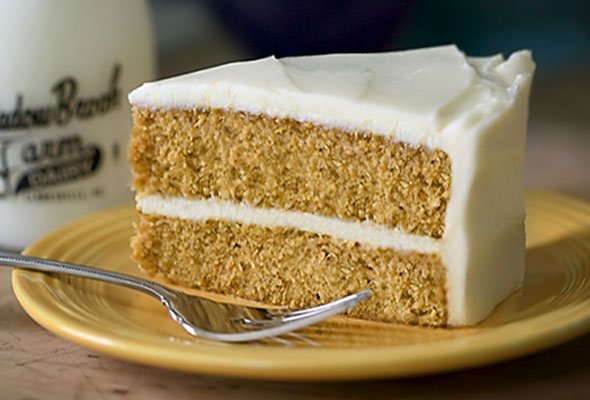 Pumpkin Cake With Maple–Cream Cheese Frosting