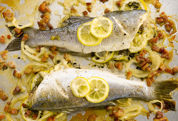 Roasted Branzino with Lemon