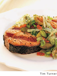 Salmon with Fennel and Olive Salad