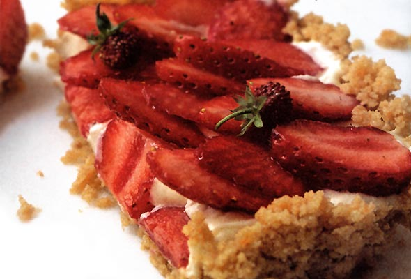 A slice of strawberry mascarpone tart.