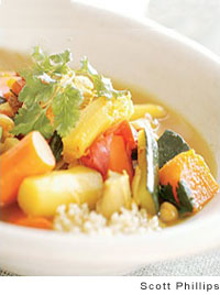 Turkey and Fall Vegetables in a Saffron Broth with Couscous